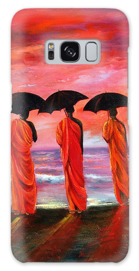 Monks Galaxy Case featuring the painting Sunset Meditation by Sally Seago