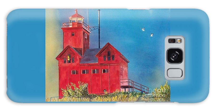 Lakes Galaxy S8 Case featuring the painting Sunset On Holland Light by LeAnne Sowa