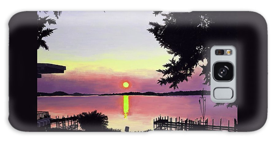 Sunset On Lake Galaxy Case featuring the painting Sunset On Lake Dora by Judy Swerlick