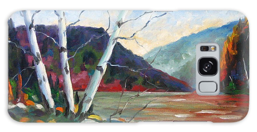 Landscape; Landscapes/scenic; Birches;sun;lake;pranke Galaxy S8 Case featuring the painting Sunset On The Lake by Richard T Pranke