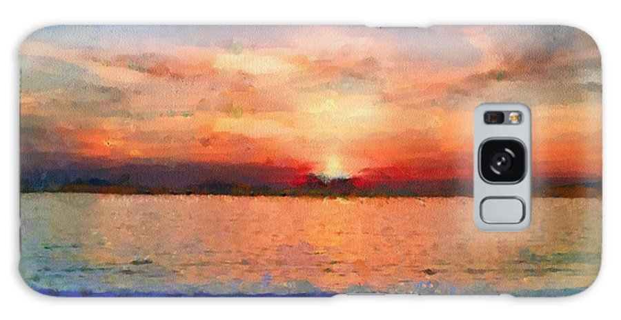 Sunset Galaxy S8 Case featuring the painting Sunset On The Water by Anthony Caruso
