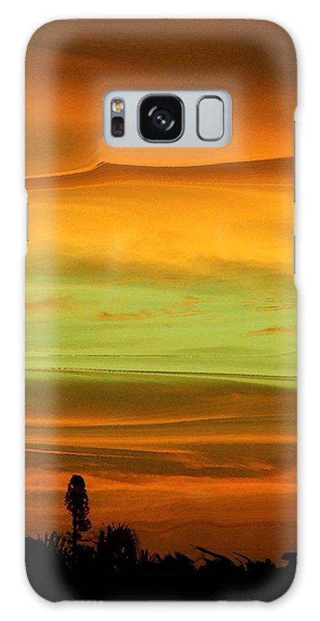 Abstract Galaxy S8 Case featuring the photograph Sunset Orange And Green by Florene Welebny