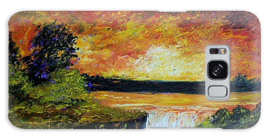 Sunset Galaxy S8 Case featuring the painting Sunset Over The Lake by Tami Booher