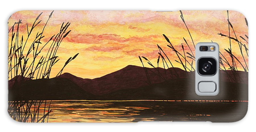 Sunset Galaxy S8 Case featuring the painting Sunset Over The Water by Michelle Miron-Rebbe