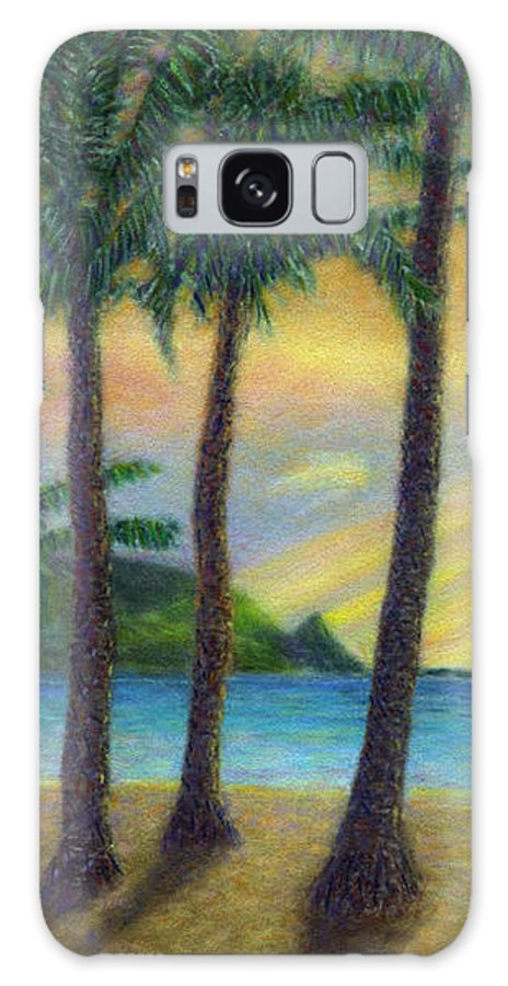 Rainbow Colors Pastel Galaxy S8 Case featuring the painting Sunset Palms by Kenneth Grzesik