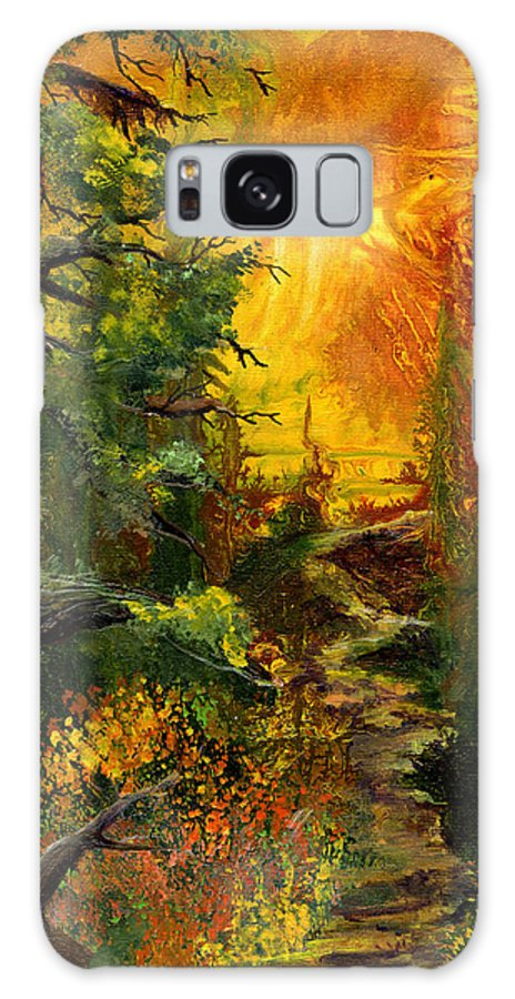 Sunset Galaxy S8 Case featuring the painting Sunset Path by Sherry Shipley