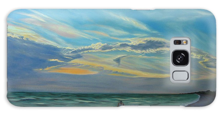 Seascape Galaxy Case featuring the painting Sunset Treasure Hunt by Lea Novak