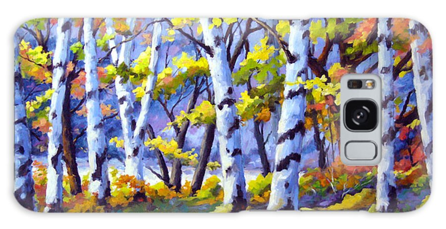 Art Galaxy S8 Case featuring the painting Sunshine And Birches by Richard T Pranke