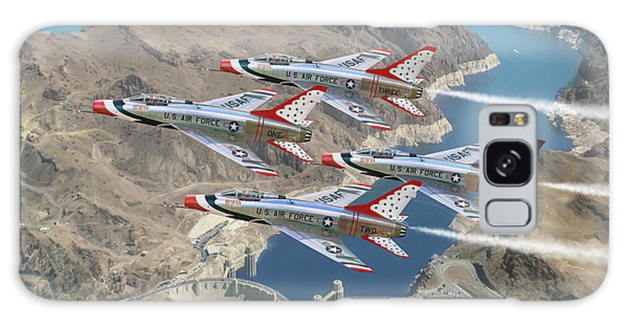 Usaf Galaxy Case featuring the painting Supersonic Thunderbirds by Mark Karvon