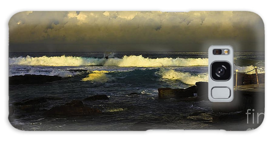 Landscape Seascape Surfing Surfer Storm Galaxy S8 Case featuring the photograph Surfing The Storm by Sheila Smart Fine Art Photography