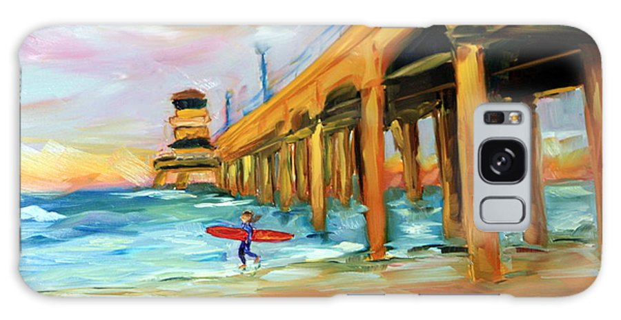 Surf Galaxy S8 Case featuring the painting Surf's Up by Mary Beth Harrison