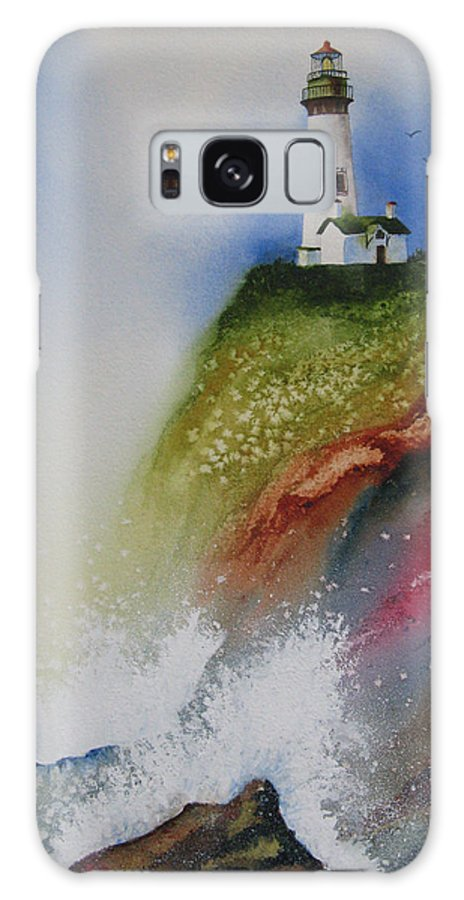 Lighthouse Galaxy Case featuring the painting Surfside by Karen Stark