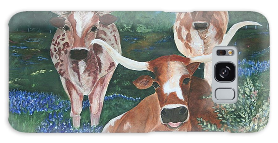 Longhorns Galaxy S8 Case featuring the painting Survivors by Donna Steward