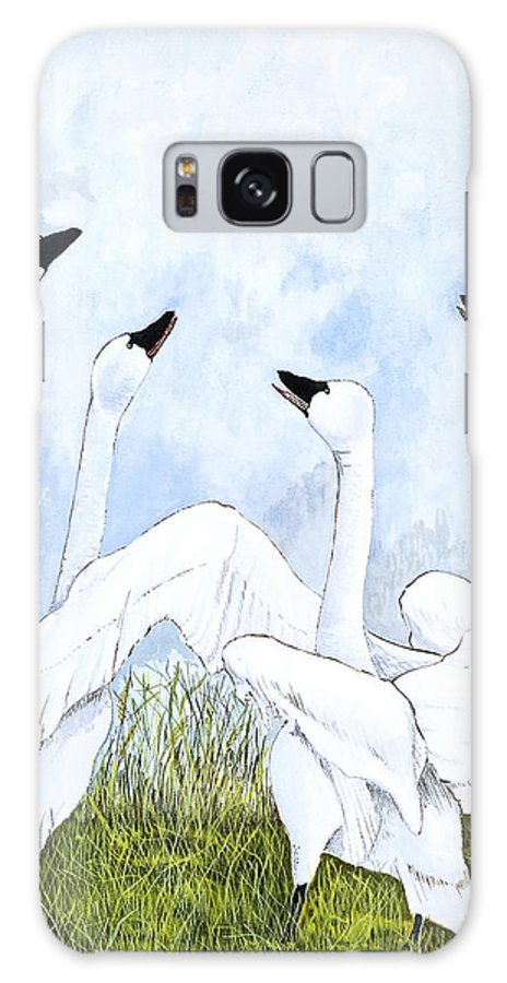 Swans Galaxy S8 Case featuring the painting Swan Dance by Virginia McLaren
