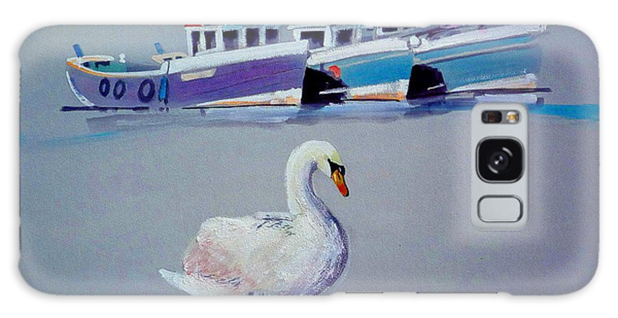 Swan Galaxy S8 Case featuring the painting Swan Lake With Pleasure Boats by Charles Stuart