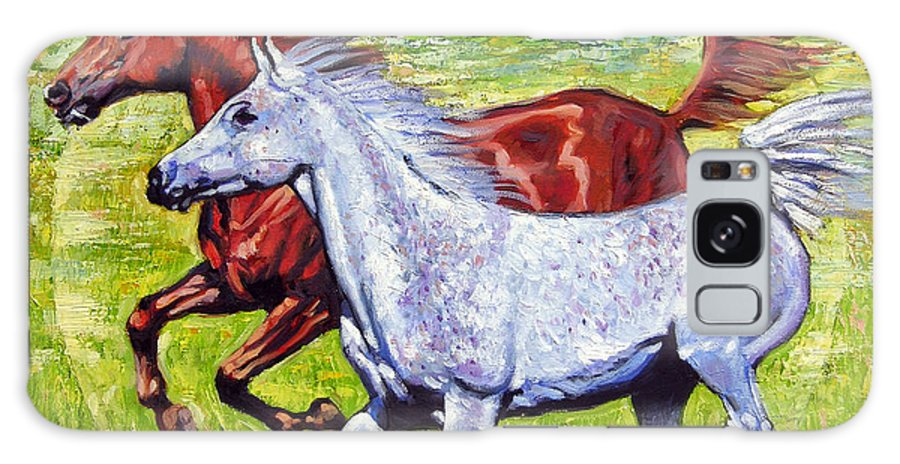 Horses Running Galaxy S8 Case featuring the painting Sweet Harmony by John Lautermilch