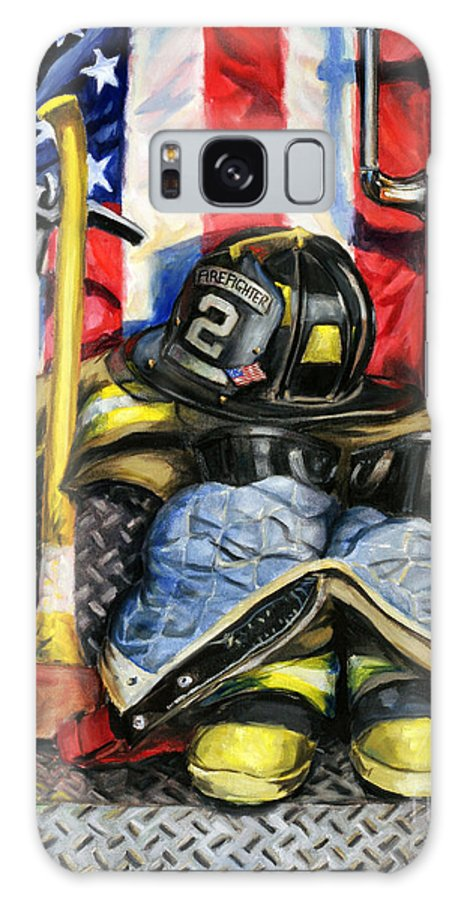 Firefighting Galaxy S8 Case featuring the painting Symbols Of Heroism by Paul Walsh
