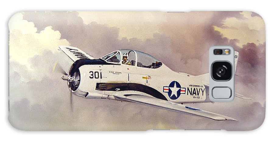 Military Galaxy Case featuring the painting T-28 Over Iowa by Marc Stewart