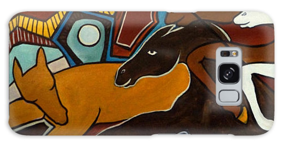 Horse Abstract Galaxy Case featuring the painting Taffy Horses by Valerie Vescovi