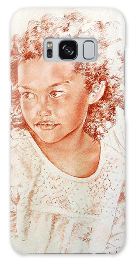 Drawing Persons Galaxy S8 Case featuring the painting Tahitian Girl by Miki De Goodaboom