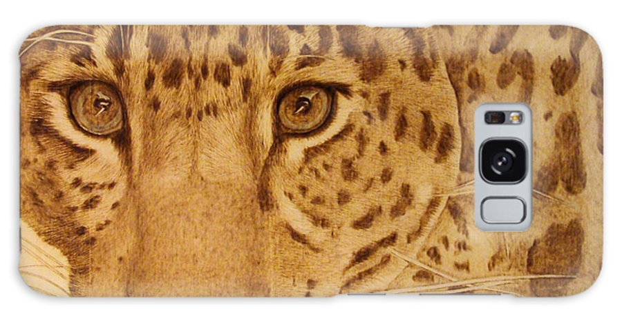 Jaguar; Sepia; Wild Life; Africa; Eyes; Zoo; Cat; Galaxy S8 Case featuring the pyrography Take One Step Closer by Jo Schwartz