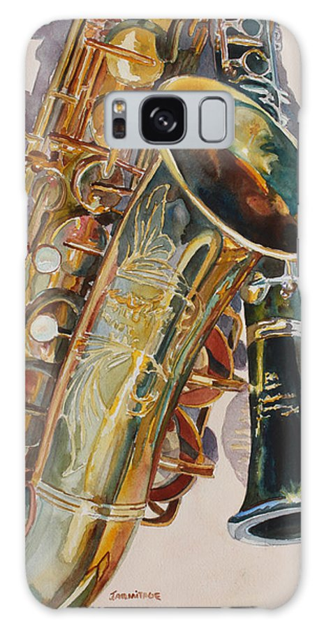 Saxophone Galaxy S8 Case featuring the painting Taking A Shine To Each Other by Jenny Armitage