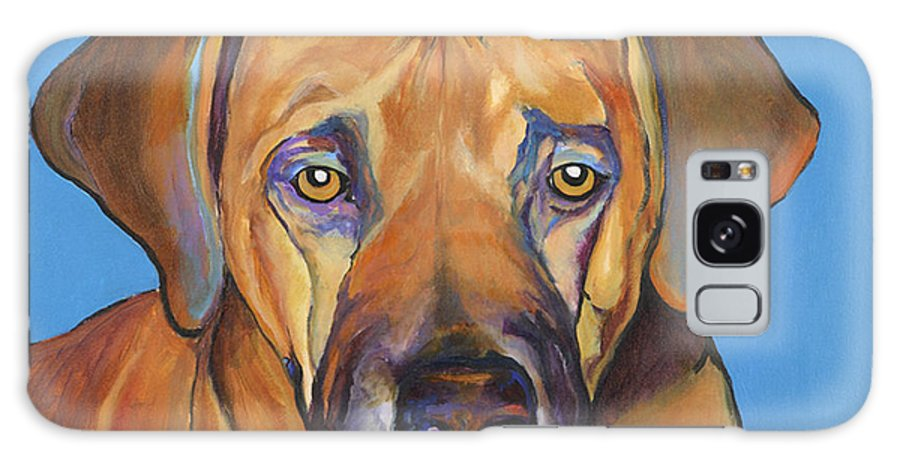 Rhodesian Ridgeback Dog Ridgeback African Colorful Orange Gold Yellow Red Galaxy S8 Case featuring the painting Talen by Pat Saunders-White