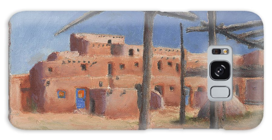Taos Galaxy S8 Case featuring the painting Taos Pueblo by Jerry McElroy