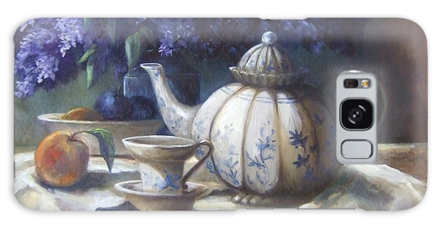 Teapot Galaxy S8 Case featuring the painting Tea And Lilacs by Ruth Stromswold