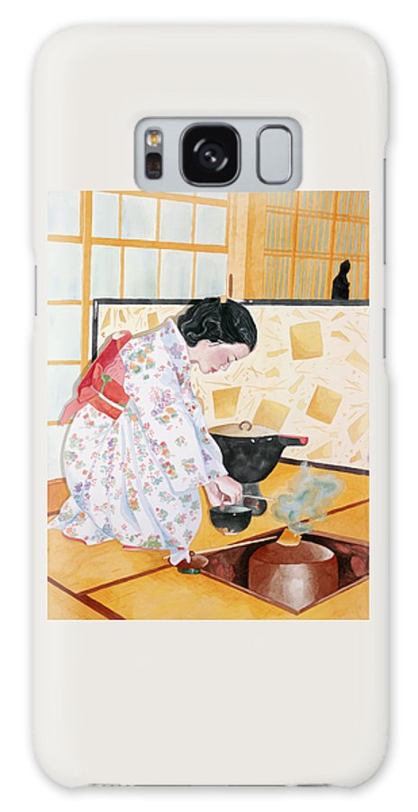 Japanese Woman Performing Tea Ceremony Galaxy S8 Case featuring the painting Tea Ceremony by Judy Swerlick