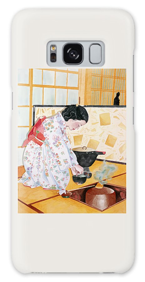 Japanese Woman Performing Tea Ceremony Galaxy Case featuring the painting Tea Ceremony by Judy Swerlick