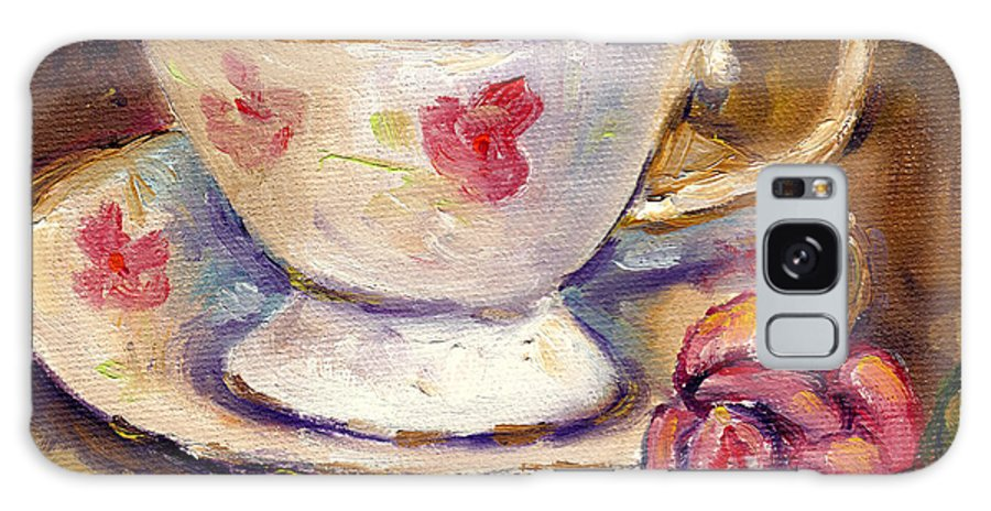 Still Life Galaxy S8 Case featuring the painting Tea Cup With Rose Still Life Grace Venditti Montreal Art by Grace Venditti