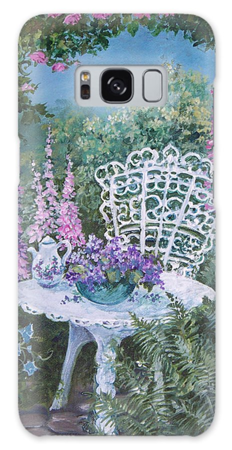 Garden;flowers;teapot;ornamental;roses; Galaxy Case featuring the painting Tea Time In The Garden by Lois Mountz