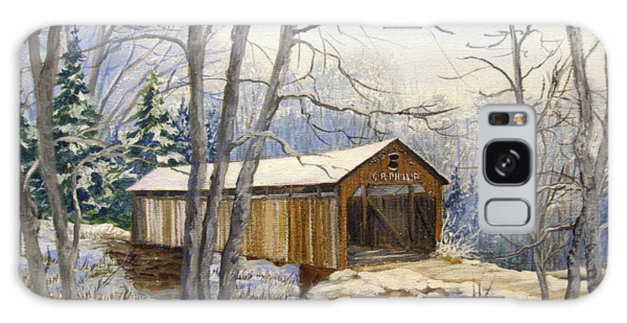 Oil Painting;bridge;covered Bridge;winter Scene;snow;landscape;winter Landscape; Galaxy S8 Case featuring the painting Teegarden Covered Bridge In Winter by Lois Mountz