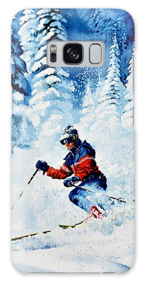 Skier Galaxy S8 Case featuring the painting Telemark Trails by Hanne Lore Koehler