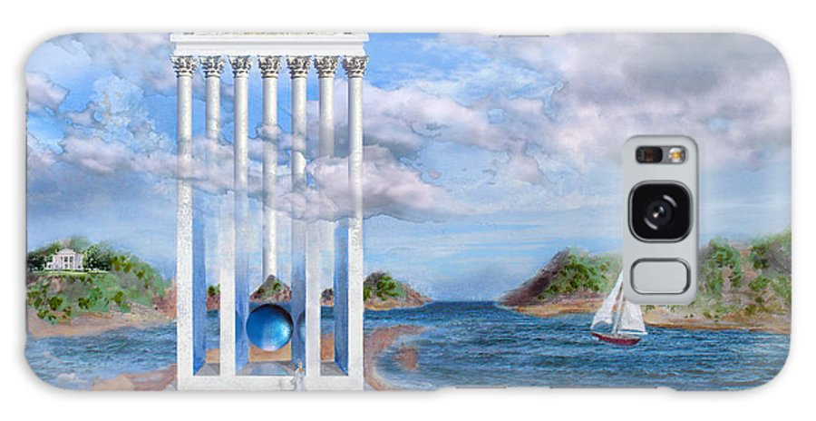 Landscape Galaxy Case featuring the painting Temple for No One by Steve Karol
