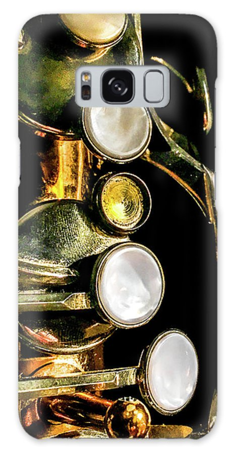 Optical Playground By Mp Ray Galaxy Case featuring the photograph Tenor Saxophone Keys by Optical Playground By MP Ray