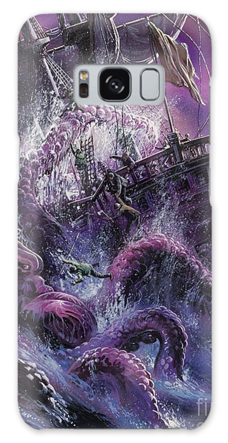 Fear; Ship; Sea Monster; Wave; Ocean; Water; Purple; Disaster; Mystery; Legend; Sea Monster; Beast; Tentacles; Mast; Sail; Pieuvre; Geante; Danger; Perilous; Purple Galaxy S8 Case featuring the painting Terror From The Deep by Oliver Frey