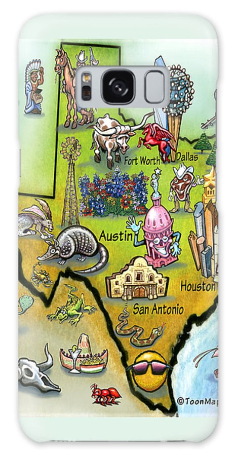 Texas Galaxy S8 Case featuring the digital art Texas Cartoon Map by Kevin Middleton