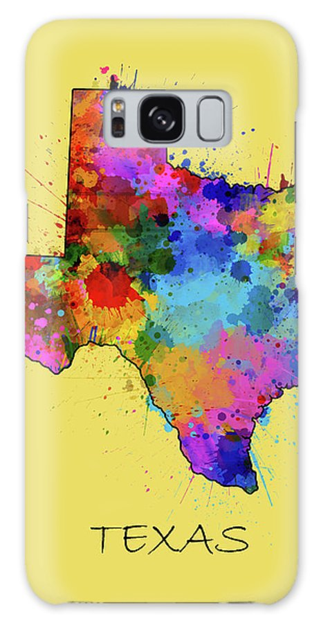 Texas Galaxy S8 Case featuring the digital art Texas Map Color Splatter 4 by Bekim M