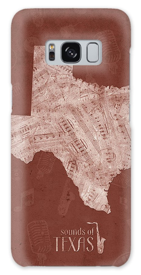 Texas Galaxy S8 Case featuring the digital art Texas Map Music Notes 4 by Bekim M