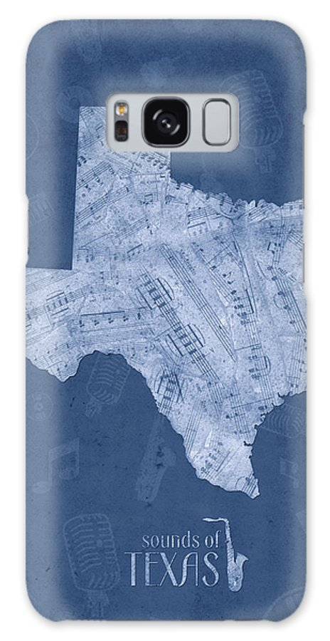 Texas Galaxy S8 Case featuring the digital art Texas Map Music Notes 5 by Bekim M