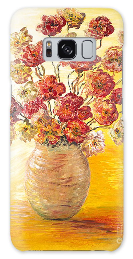Flowers Galaxy Case featuring the painting Textured Flowers In A Vase by Nadine Rippelmeyer