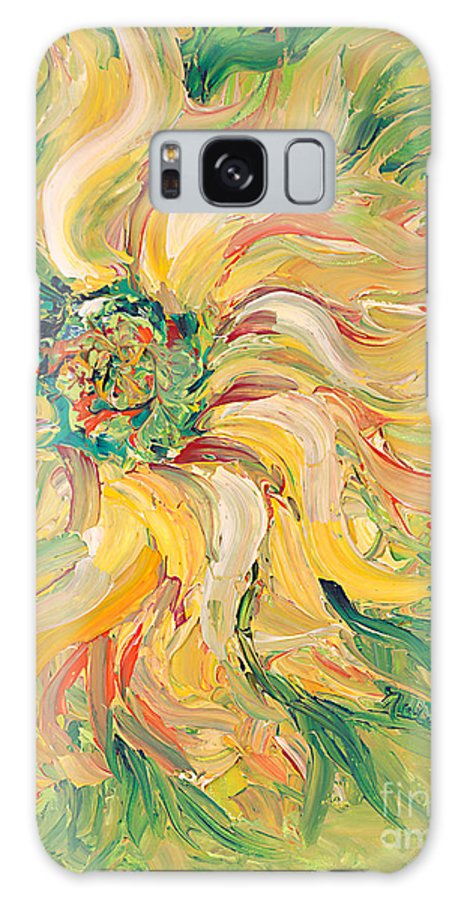 Texture Galaxy Case featuring the painting Textured Green Sunflower by Nadine Rippelmeyer