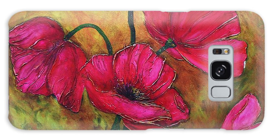 Flowers Galaxy S8 Case featuring the painting Textured Poppies by Chris Hobel