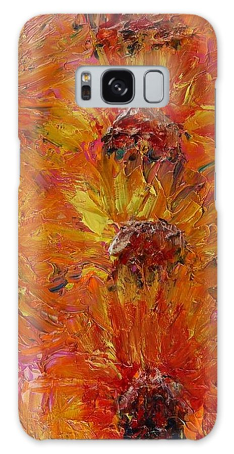 Sunflowers Galaxy S8 Case featuring the painting Textured Sunflowers by Nadine Rippelmeyer