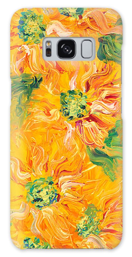Yellow Galaxy S8 Case featuring the painting Textured Yellow Sunflowers by Nadine Rippelmeyer