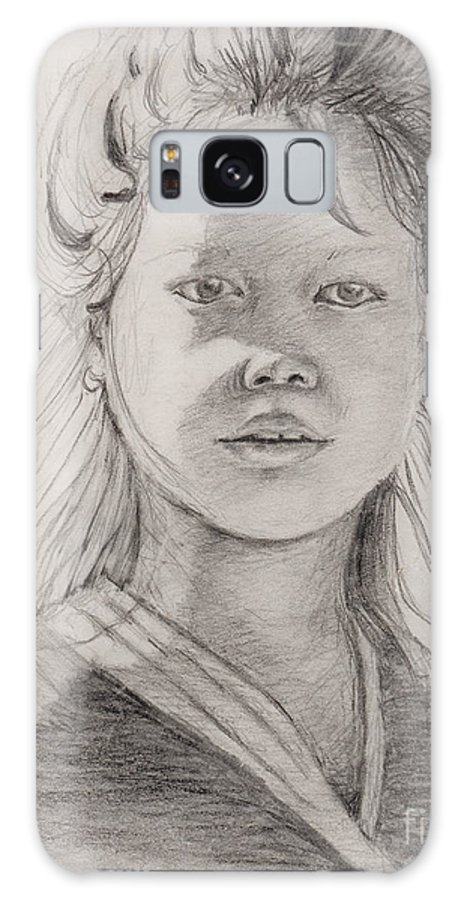Portrait Galaxy S8 Case featuring the drawing Thai Beauty by Nadine Rippelmeyer