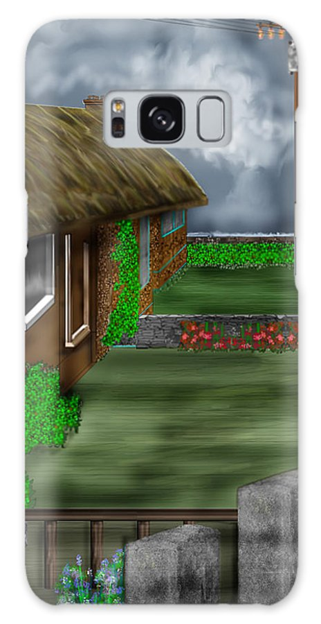 Cottages Galaxy S8 Case featuring the painting Thatched Roof Cottages In Ireland by Anne Norskog