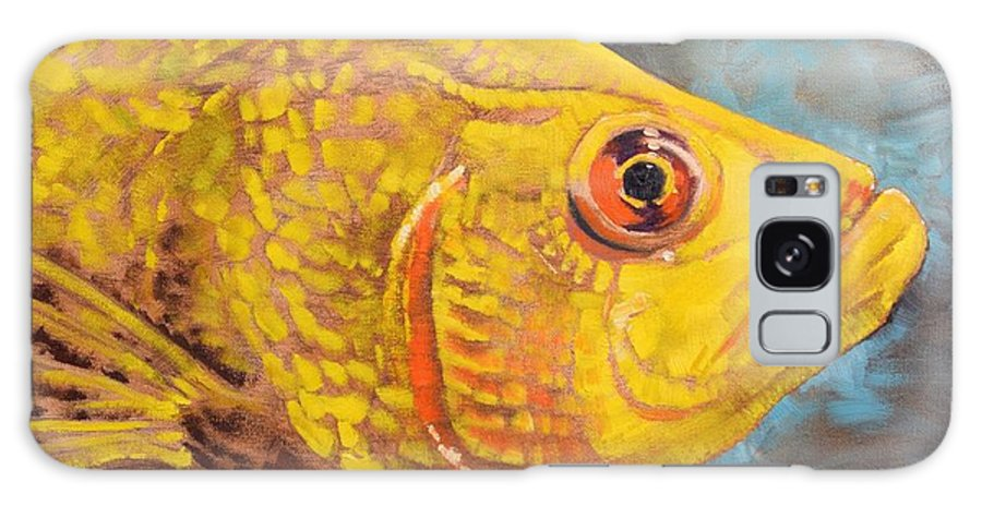 Fish Aquarium Yellow Orange Closeup Blue Water Profile Galaxy S8 Case featuring the painting The Abyss Stares Back by Amber Foote
